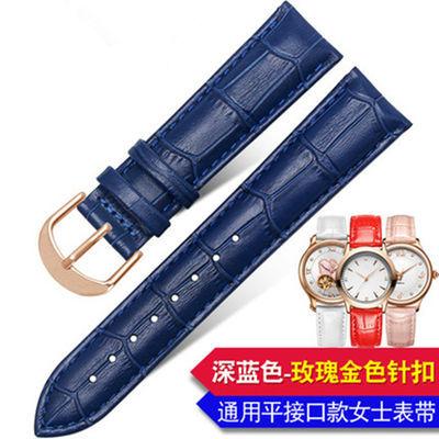 宝蓝色鳄鱼纹双面小牛皮深蓝色手表带女真皮表带男士13/14/16mm20