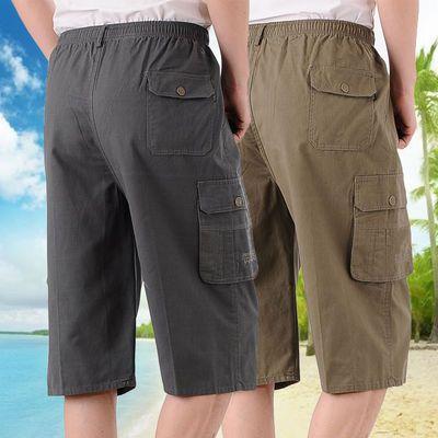 中年七分裤男宽松大码爸爸装外穿夏季纯棉休闲短裤中老年五分裤