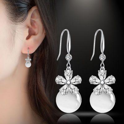 猫眼耳坠长款气质水晶S925纯银耳环女网红时尚百搭珍珠简约耳钉女