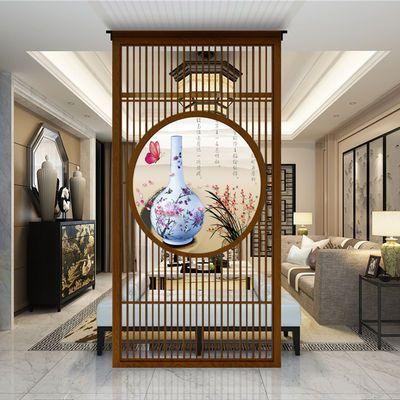 定制新中式实木屏风隔断墙客厅入户玄关装饰简约现代格栅栏座屏