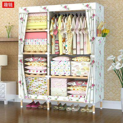 简易衣柜实木布衣柜收纳架组装衣橱单双人大号牛津布折叠单人柜子