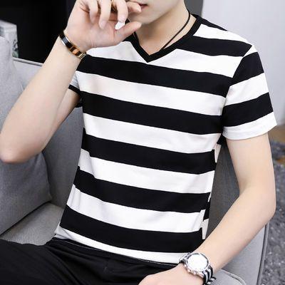 高品质95棉夏季短袖t恤男士潮流V领条纹宽松半袖男生简约款