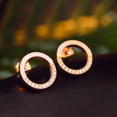 时尚圈圈圆环女耳钉 闪钻O字母彩金耳钉 玫瑰金日韩新款耳环饰品