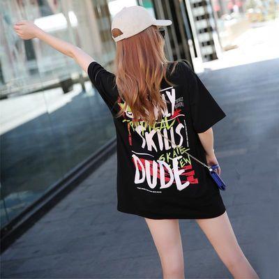 短袖t恤女2020黑色港风大版bf嘻哈学生宽松下衣失踪中长款夏装潮