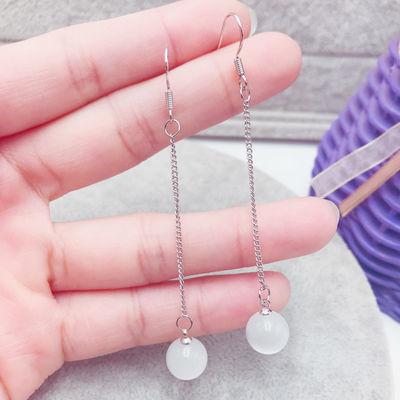 925纯银耳环耳钩耳线钻球长款耳坠水晶猫眼女时尚气质耳饰银饰品
