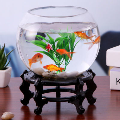 鱼缸玻璃创意圆形水培透明客厅中型办公室桌面小型金鱼迷你小鱼缸