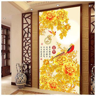 花开富贵客厅装饰画玄关画牡丹花中式招财风水走廊屏风墙壁画挂画
