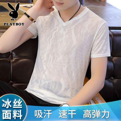 花花公子夏季男装新款冰丝男士短袖t恤潮流速干衣男v领半袖体恤男