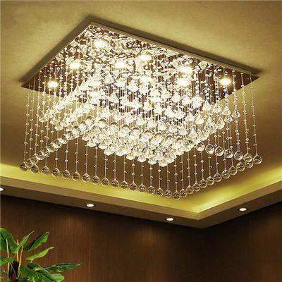 LED水晶吸顶灯现代简约客厅灯长方形大气家用餐厅灯浪漫卧室灯具