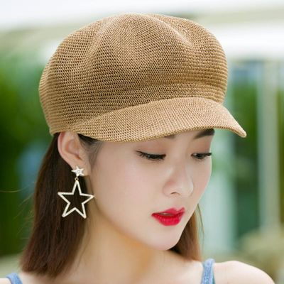 帽子女夏天韩版百搭贝雷帽子出游遮阳帽防晒鸭舌八角帽草帽网帽潮