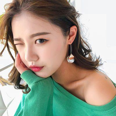 磨砂质感圆片气质韩版简约耳钉女纯银耳环女网红精美耳坠个性时尚