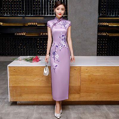 2020新款少女走秀旗袍长款式年轻款复古修身优雅改良中国风连衣裙