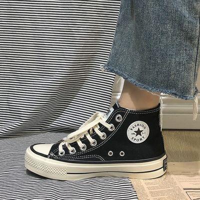 1970s复古高帮帆布鞋女学生韩版ulzzang原宿ins百搭黑色港风板鞋