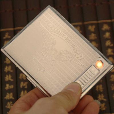 不锈钢20支装烟盒带防风充电打火机USB一体自动弹力烟夹超薄烟壳
