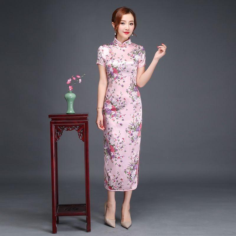 Valazo Sườn xám giữa dài Thượng Hải mới nữ trang phục catwalk mỏng ...
