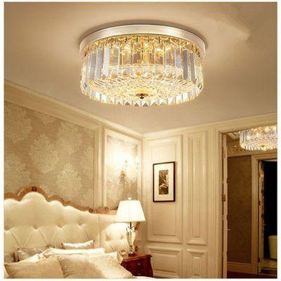玄关门厅灯卧室灯水晶吸顶灯圆形轻奢华金色房间书房餐厅简约灯具