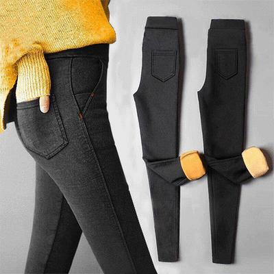 【品质保证】加绒加厚仿牛仔裤女打底外穿冬季新款保暖铅笔小脚裤