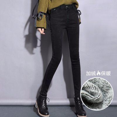 MOHO&MO2019冬装新款女款韩版通勤知性简约纯色加绒加厚牛仔裤