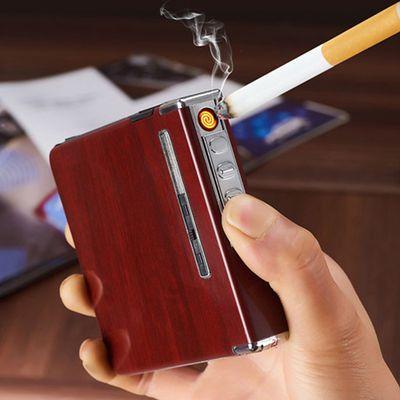 充电烟盒子打火机20支装铝合金自动弹烟usb充电/充气香烟盒打火机