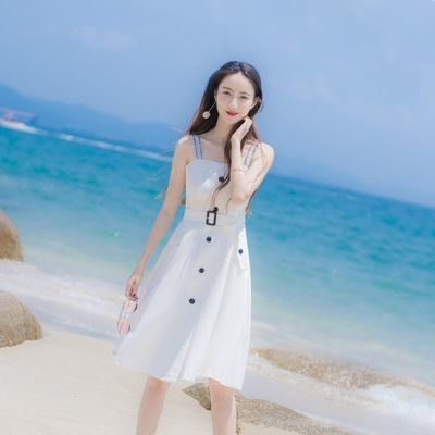 一字肩性感收腰显瘦遮肚连衣裙女装2020新款潮仙女裙白色吊带裙夏