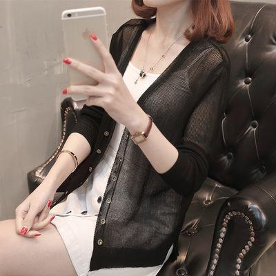 韩版针织衫女开衫短款夏季长袖冰丝V领外搭小披肩外套薄款防晒空【3月8日发完】