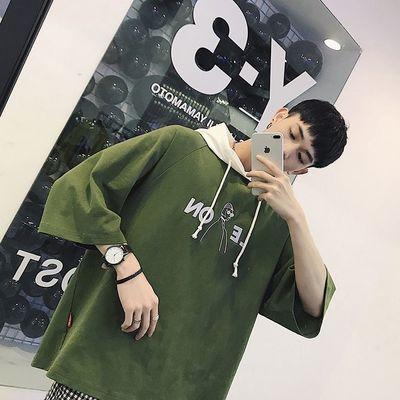 2019新款卫衣男士短袖T恤连帽衫五分半袖休闲宽松夏季学生潮流