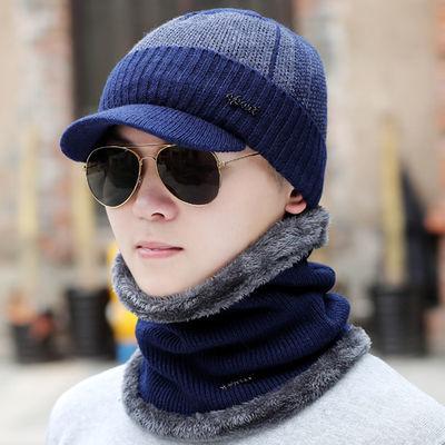 男士帽子冬季户外护耳保暖帽加绒加厚毛线帽针织套头帽休闲鸭舌帽