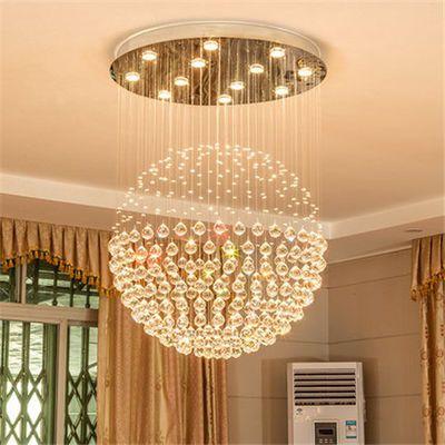 水晶吊灯圆形饭厅灯现代简约卧室灯复式楼梯灯客厅服装店餐厅吊灯