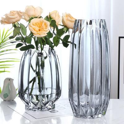 欧式大号玻璃透明花瓶客厅插花水培富贵竹百合干花鲜花装饰品摆件