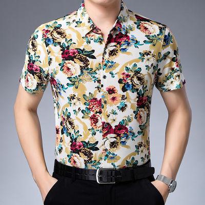 夏季男衬衫短袖中年半袖花衬衫男装上衣印花短袖碎花打底衫爸爸装