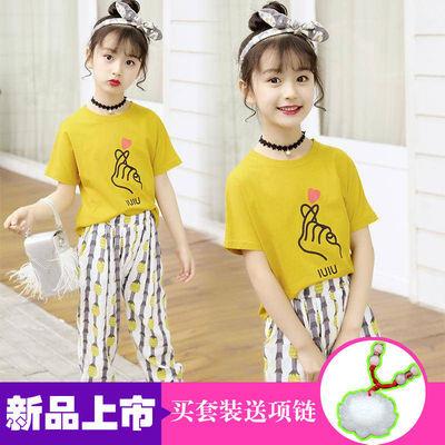 【女童纯棉两件套】2019夏季新款时尚童装女中大版女孩短袖套装