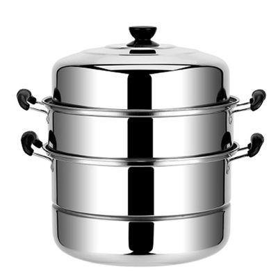 30cm加厚蒸锅三层 家用大号锅具不锈钢双层蒸锅 馒头多层加高蒸屉