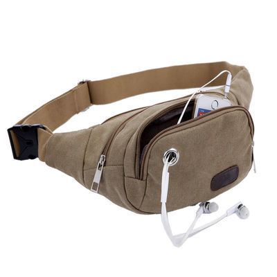 时尚男士腰包运动跑步手机包户外休闲胸包大容量帆布包潮男小包包