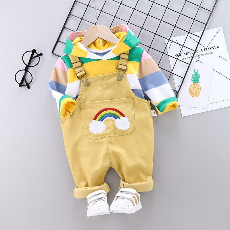 0婴幼儿童装1男宝宝洋气背带裤套装2男童秋装3女童春秋两件套秋季【2月13日发完】