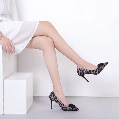新款欧美性感浅口40大小码34女装休闲单鞋尖头细跟豹纹女士高跟鞋