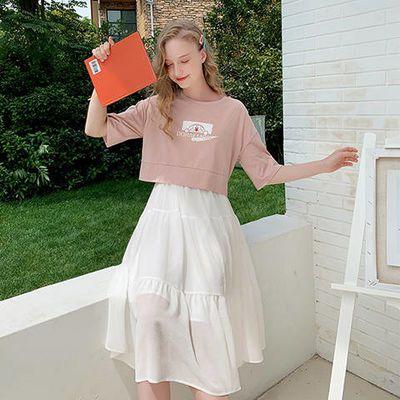哆啦A梦联名款时尚套装女2019新款个性短袖T恤白色小清新吊带裙女