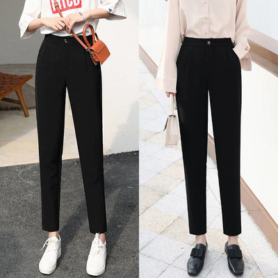 新款高腰显瘦哈伦裤大码冰丝宽松西装裤子黑色九分裤休闲裤直筒裤