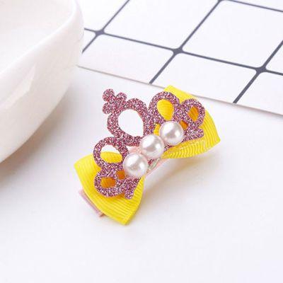 一对儿童蝴蝶结珍珠发夹韩版皇冠卡子女童发卡公主发饰宝宝头饰品