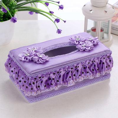 特价大号长盒蕾丝布艺纸巾盒环保纸盒抽创意家居车用抽纸盒