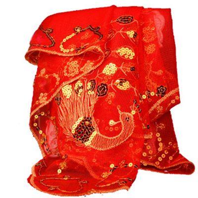 新娘红盖头结婚用品婚庆用品复古中式刺绣龙凤红盖头结婚红色头纱