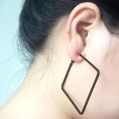 包邮简约四方形大圈耳环欧美女夜店夸张韩国时尚有无耳洞耳夹耳环