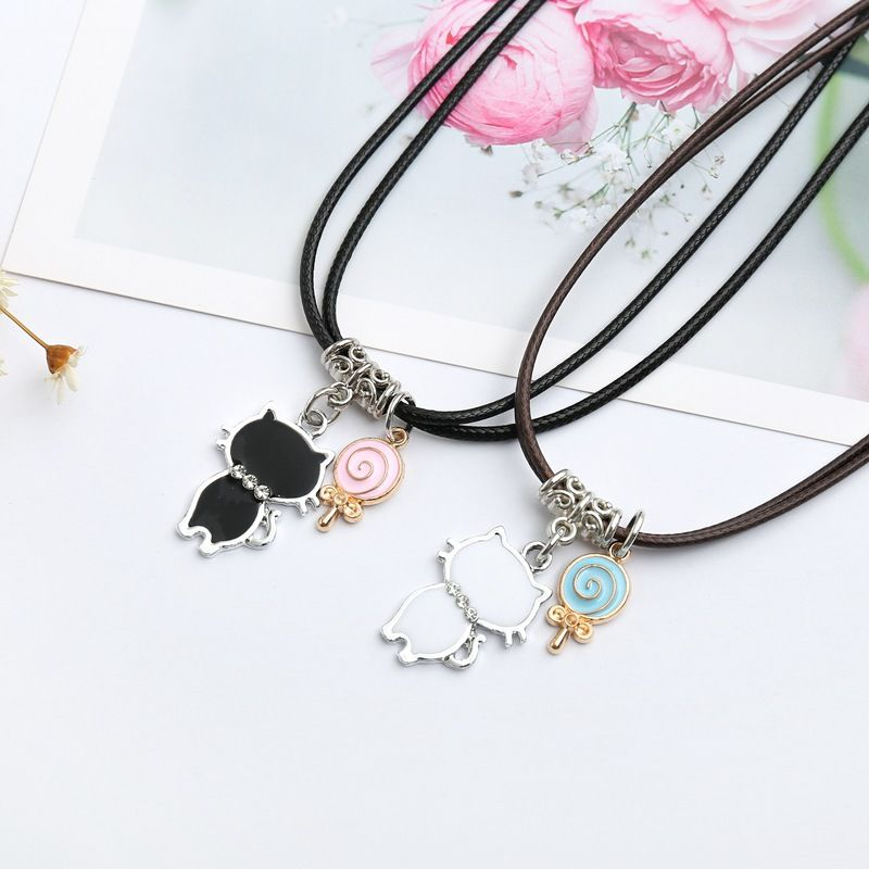 Buy Korean Version Couple Girlfriend Necklace Woman Pair Dress Cute Student Simple Fashion Leather Rope Personality Short Collarbone Chain On Ezbuy My