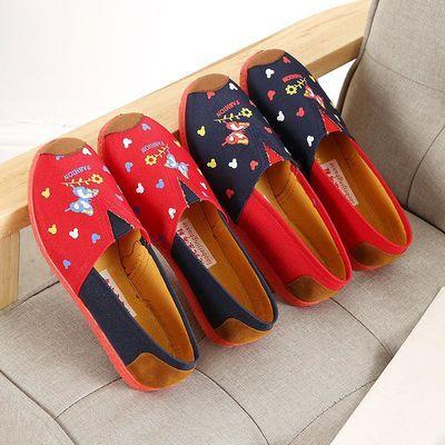 秋韩版中老年人单鞋妈妈布鞋女式休闲帆布鞋40大码女装平底板鞋子