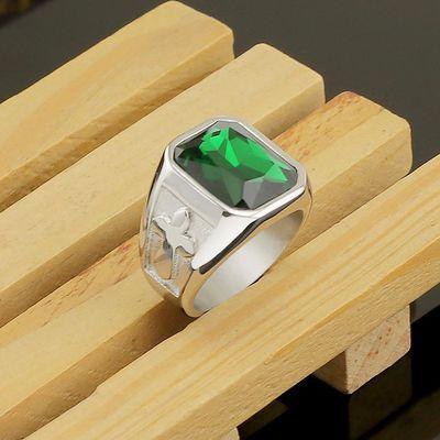 欧美大戒指男士霸气十字架戒指复古戒子男钛钢夸张食指环不掉色