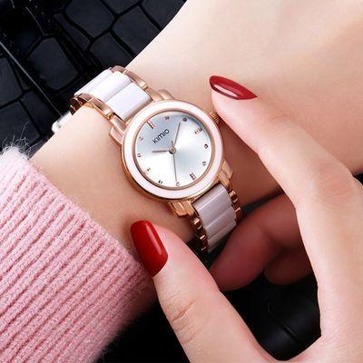 手表女士金色气质手链表韩版休闲时尚潮流仿陶瓷防水学生石英表