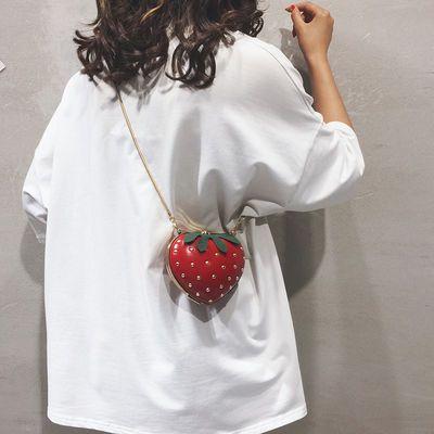 夏天迷你小包包女2019新款个性百搭可爱水果包链条草莓单肩斜挎包