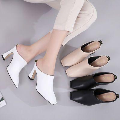 欧美风高跟拖鞋女外穿夏秋时尚百搭粗跟凉拖鞋包头半拖方头穆勒鞋