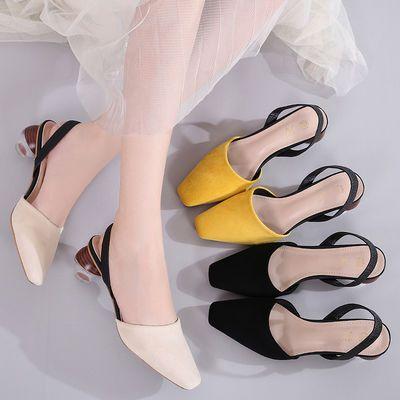 缕�M欧美风凉鞋女中跟方头时尚百搭包头绒面高跟性感气质圆跟女鞋