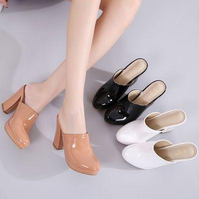 欧美风超高跟拖鞋女秋外穿时尚凉拖鞋粗跟包头半拖漆皮百搭穆勒鞋