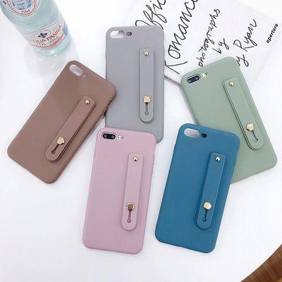 纯色苹果x手机壳腕带iPhone6/6s/Plus软壳7/8 Plus全包防摔XS max